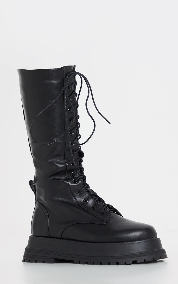 Black Lace Up Calf Chunky Boots 3