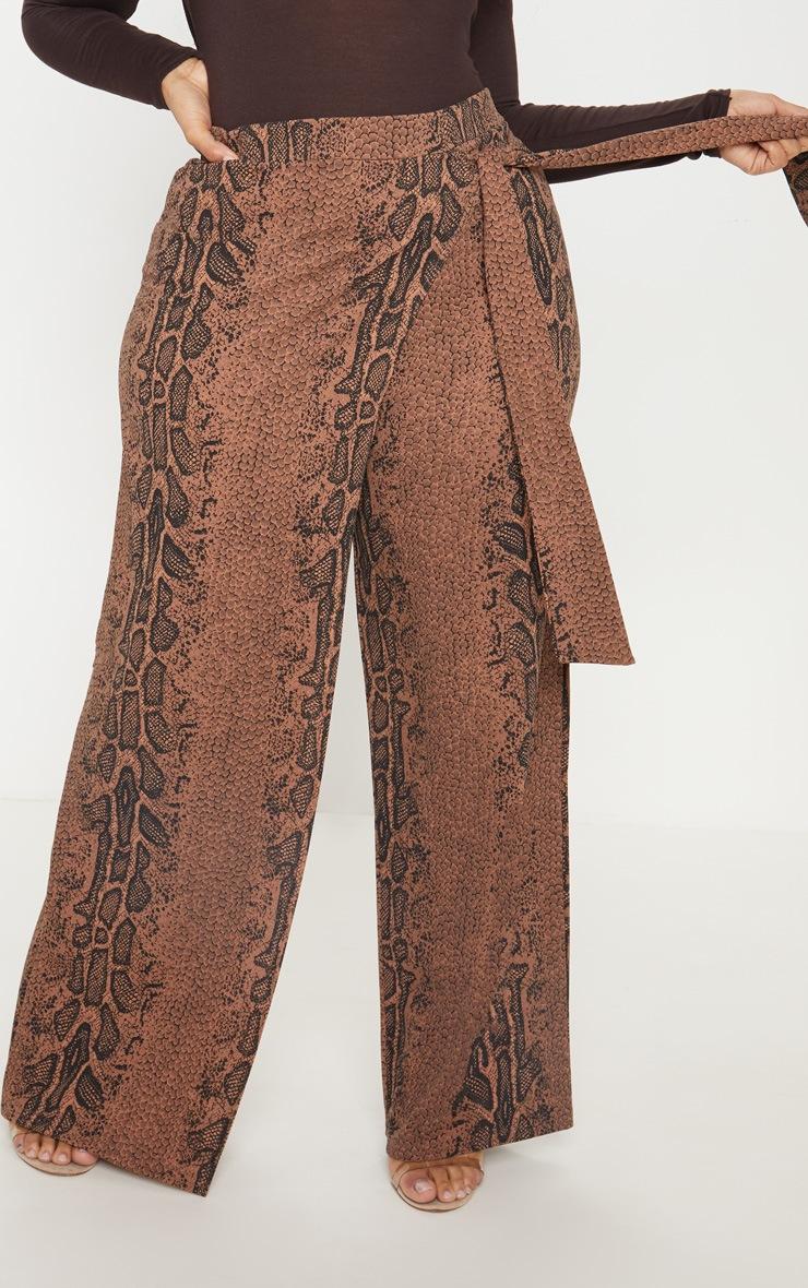 Plus Taupe Snake Print Wrap Detail Extreme Wide Leg Pants 2
