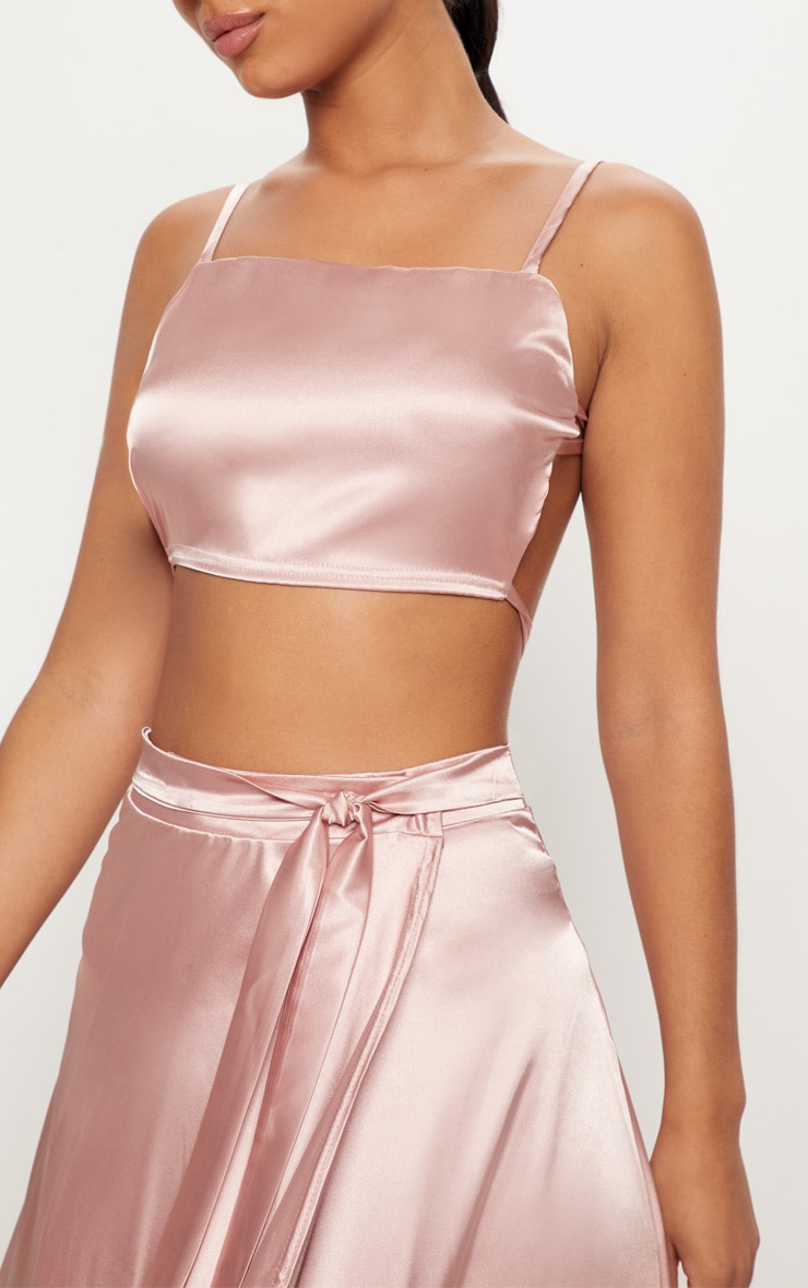 Rose Gold Satin Backless Strappy Crop Top 5
