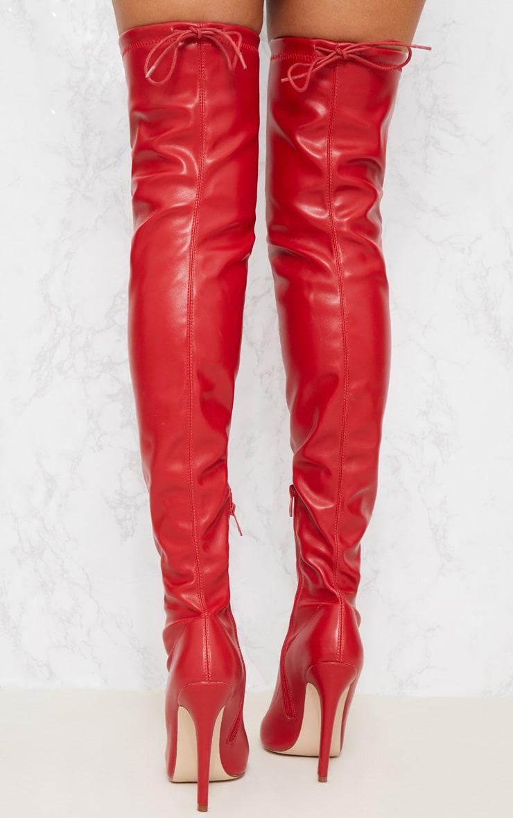 Red PU Pointed Thigh High Boot 4