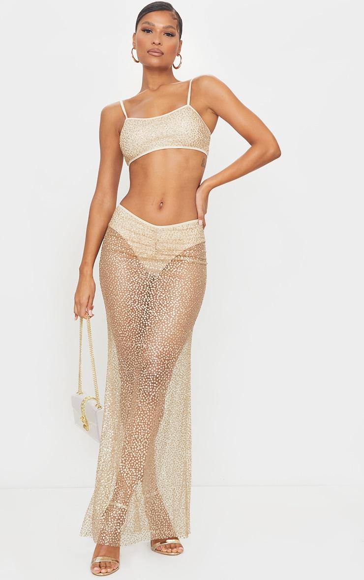 Gold Glitter Printed V Waist Sheer Maxi Skirt 1