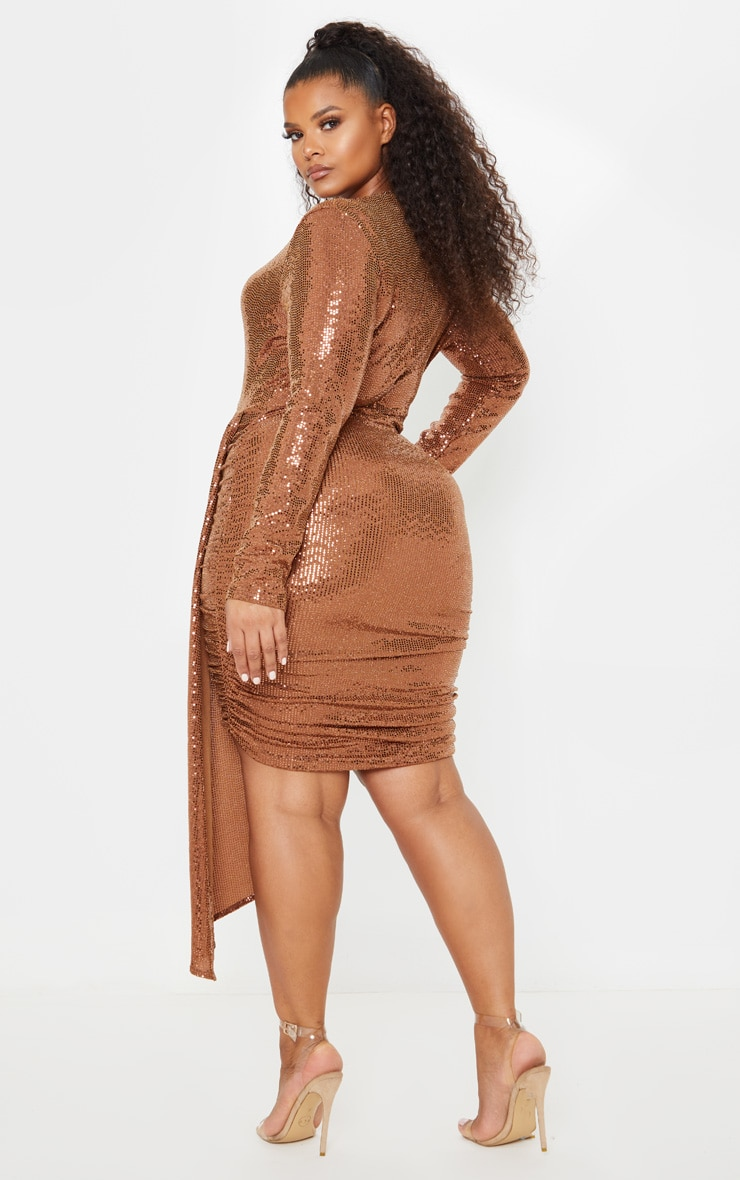 Plus Bronze Sequin Plunge Bodycon Dress 2
