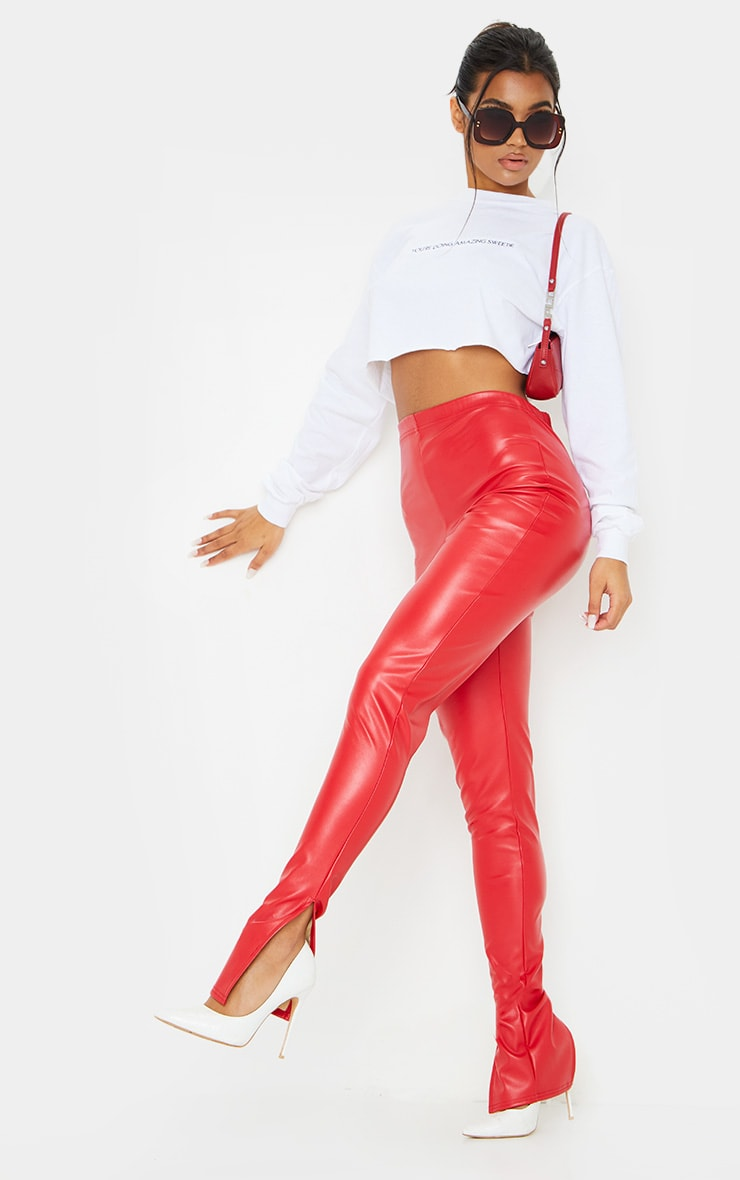 Red Faux Leather Split Hem Trousers 1