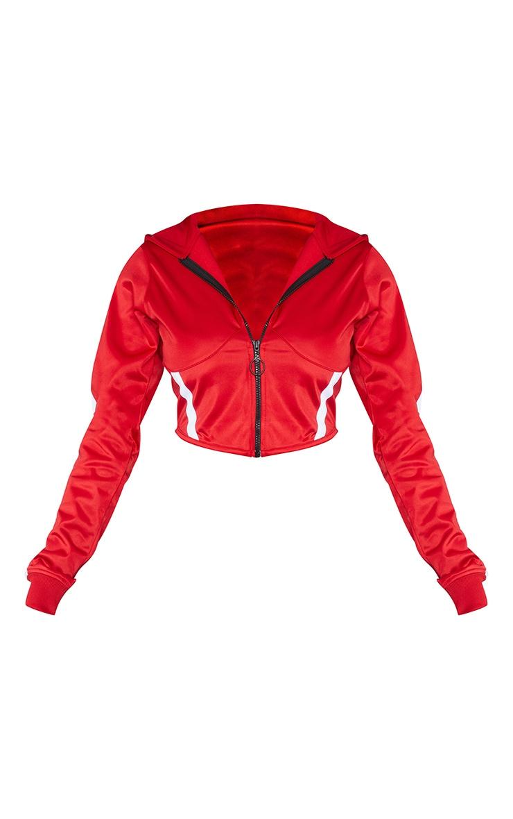 Red Zip Sports Stripe Crop Hoodie 6