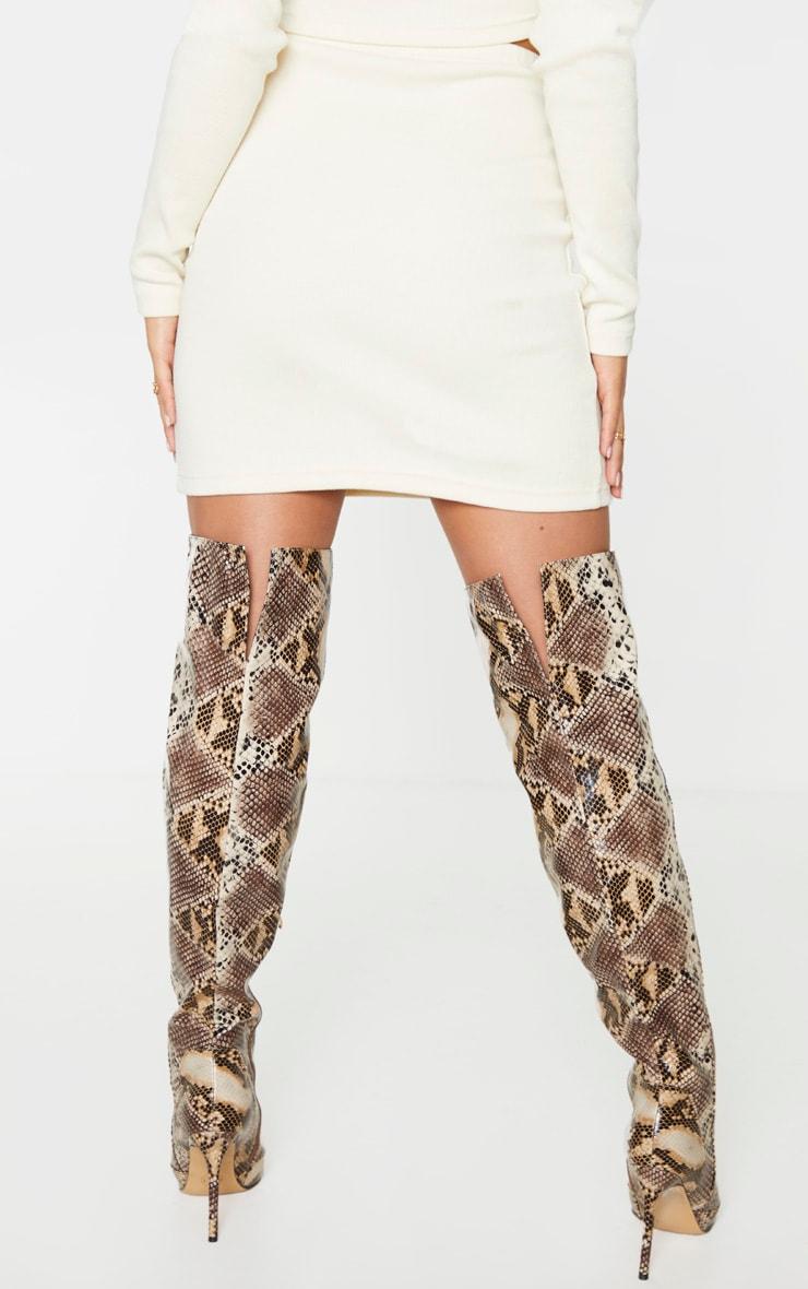 Cream Structured Rib Mini Skirt 3