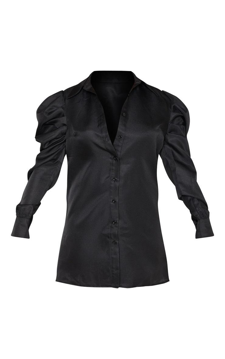 Black Puff Sleeve Shirt Dress 3
