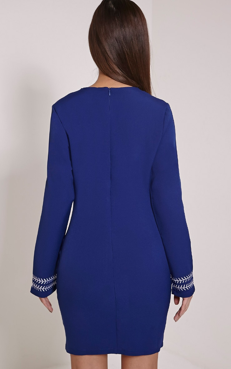 Calvy Navy Embroidered Shift Dress 2
