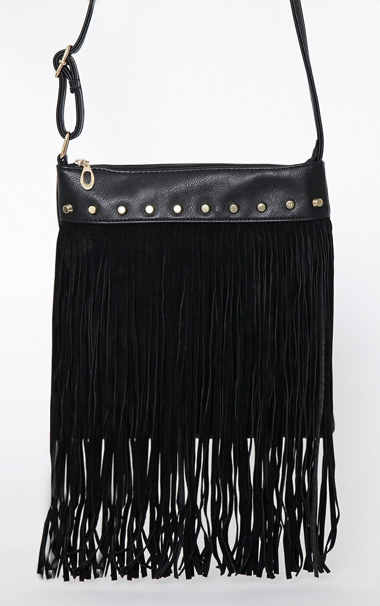 Celise Black Suedette Tassel Bag 3