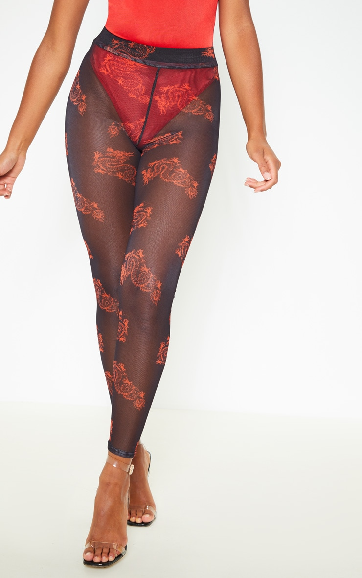 Red Dragon Print Mesh Legging 2