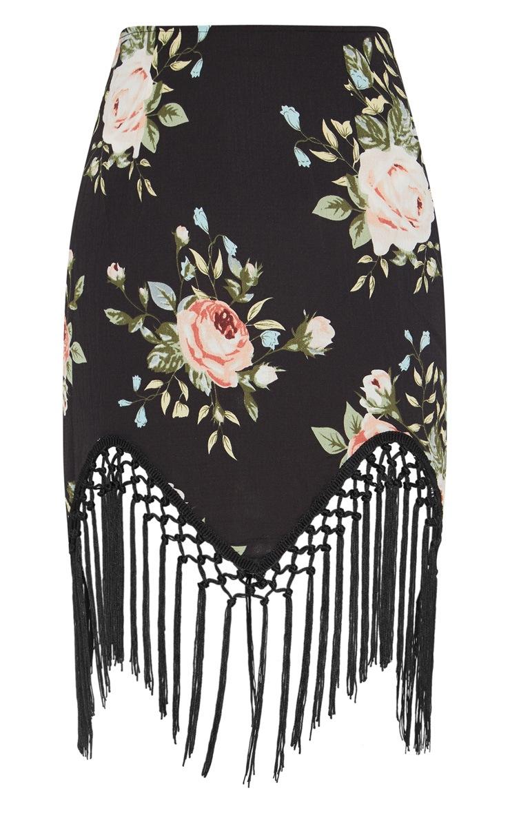 Black Floral Tassel Hem Mini Skirt 3