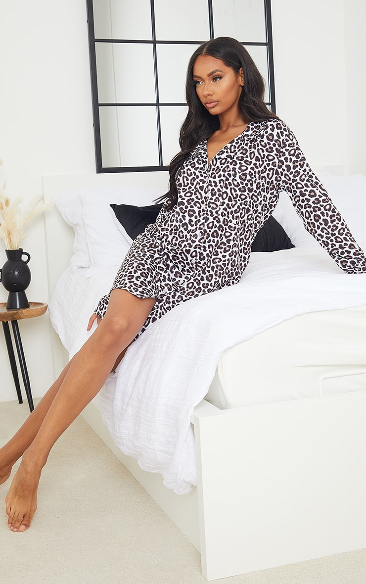 Brown Leopard Print Mix And Match Jersey Nightshirt 1