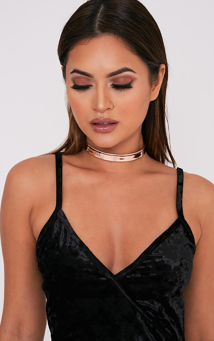Tegan Rose Gold Holographic Choker 1