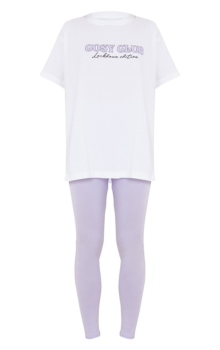 Lilac Cosy Club T-Shirt And Legging PJ Set 5
