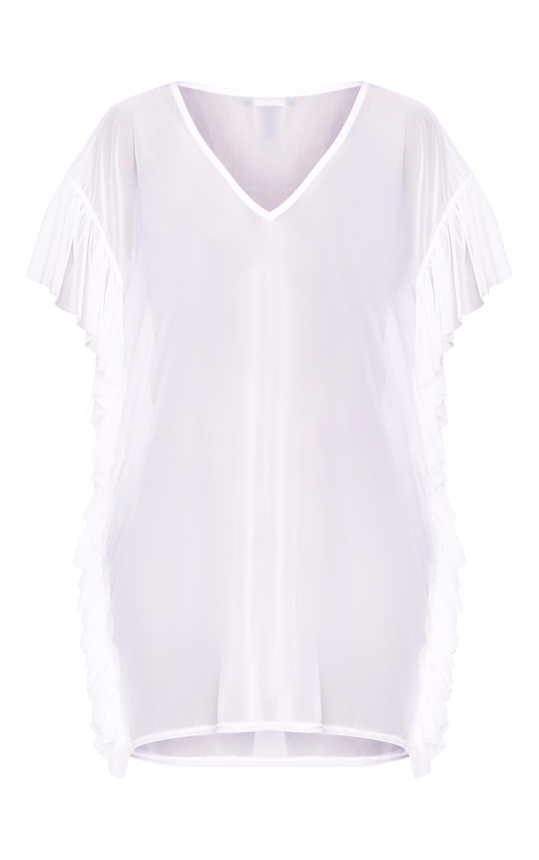 White Mesh Frill Deep Plunge Beach Cover Dress 3