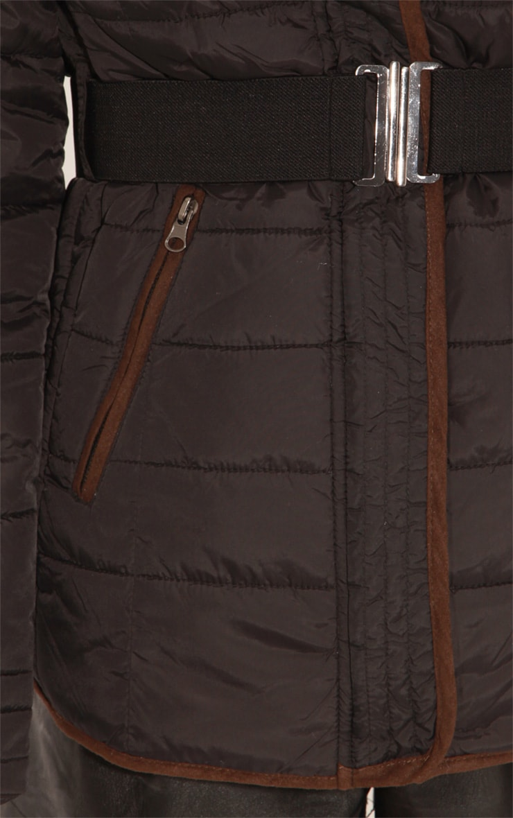 Connie Black Padded Coat With Belt 5
