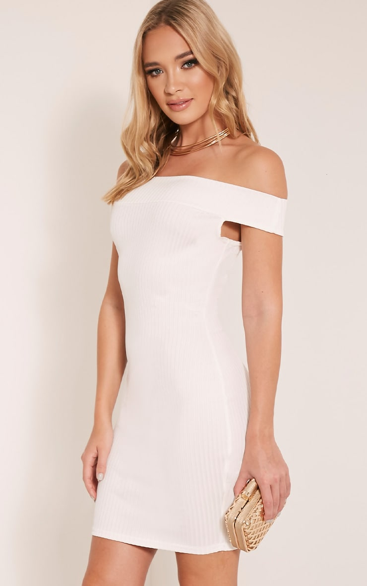 Rylah White Bardot Ribbed Bodycon Dress 4