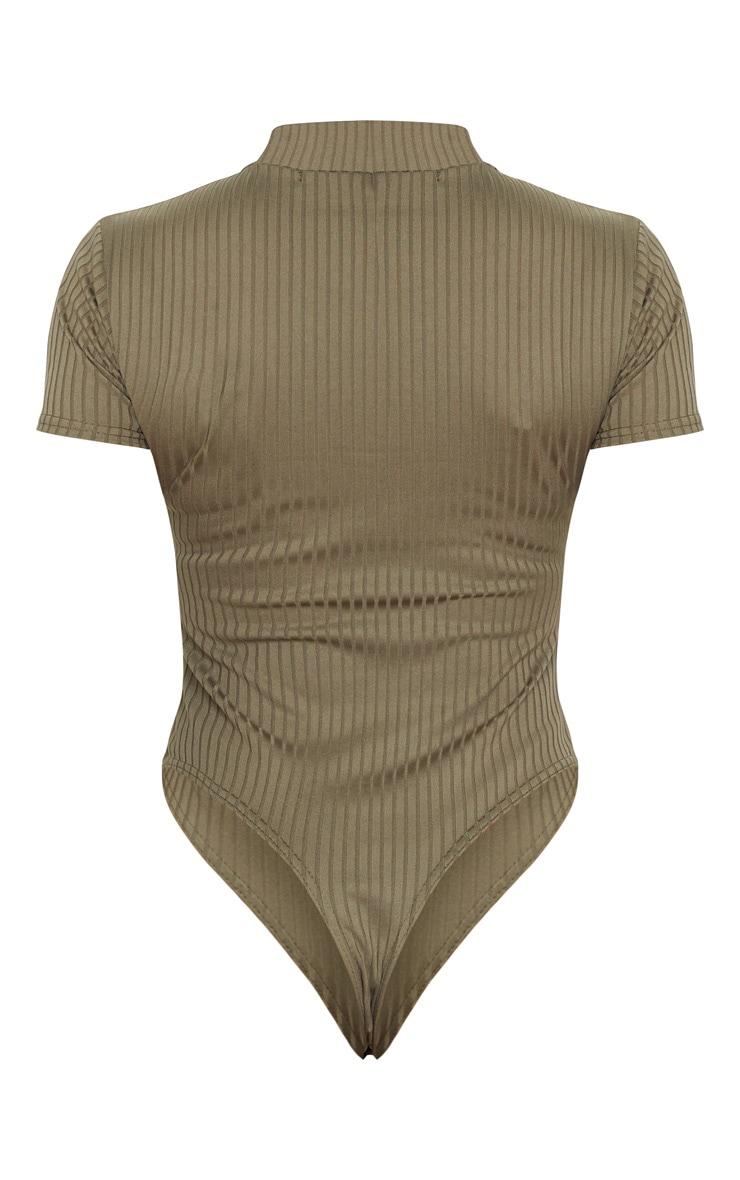 Khaki Ribbed High Neck Short Sleeve Bodysuit 6