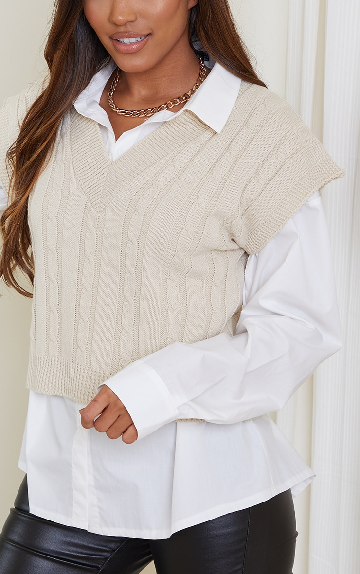 Cream Sleeveless Cable Knitted Top 4
