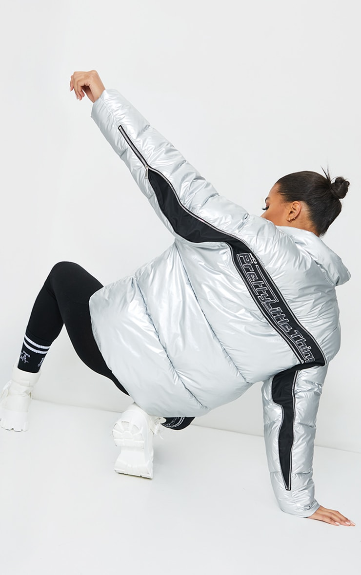PRETTYLITTLETHING Silver Zip Back Oversized Puffer Jacket 2