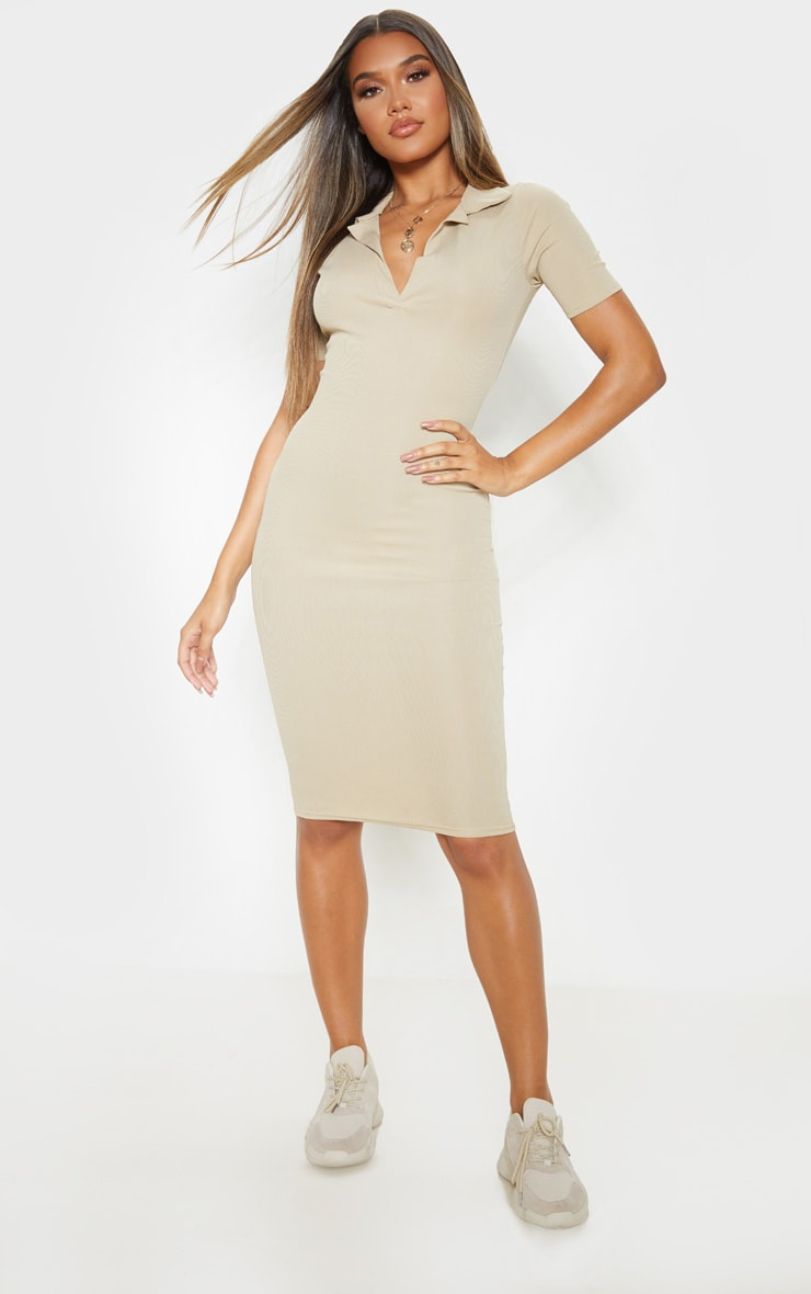 Biscuit Ribbed Midi Polo Dress 1