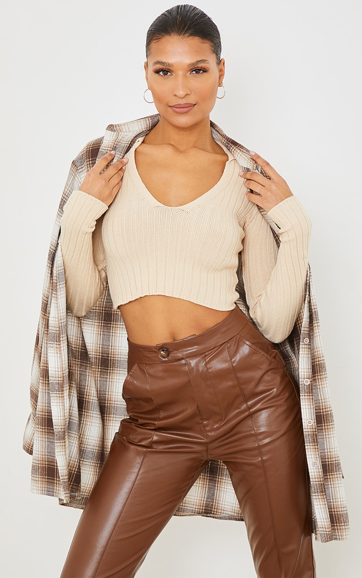 Stone V Neck Super Soft Collared Knitted Crop Sweater