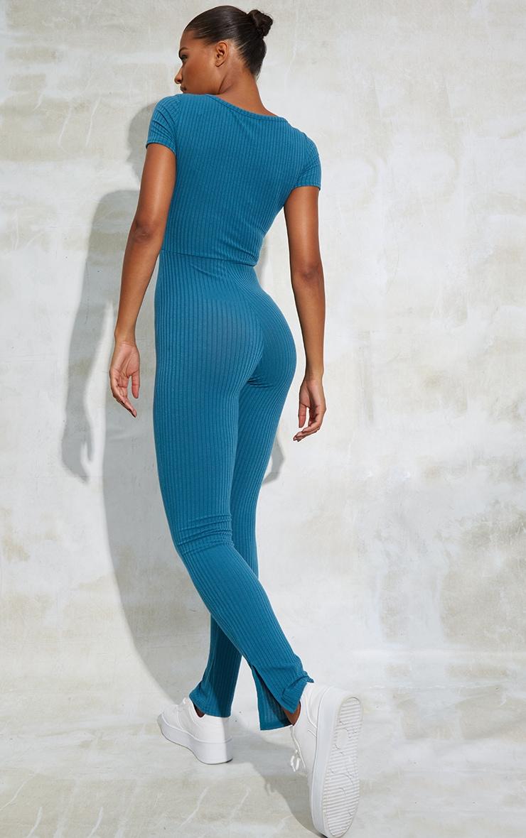 Petrol Blue V Detail Short Sleeve Jumpsuit 2