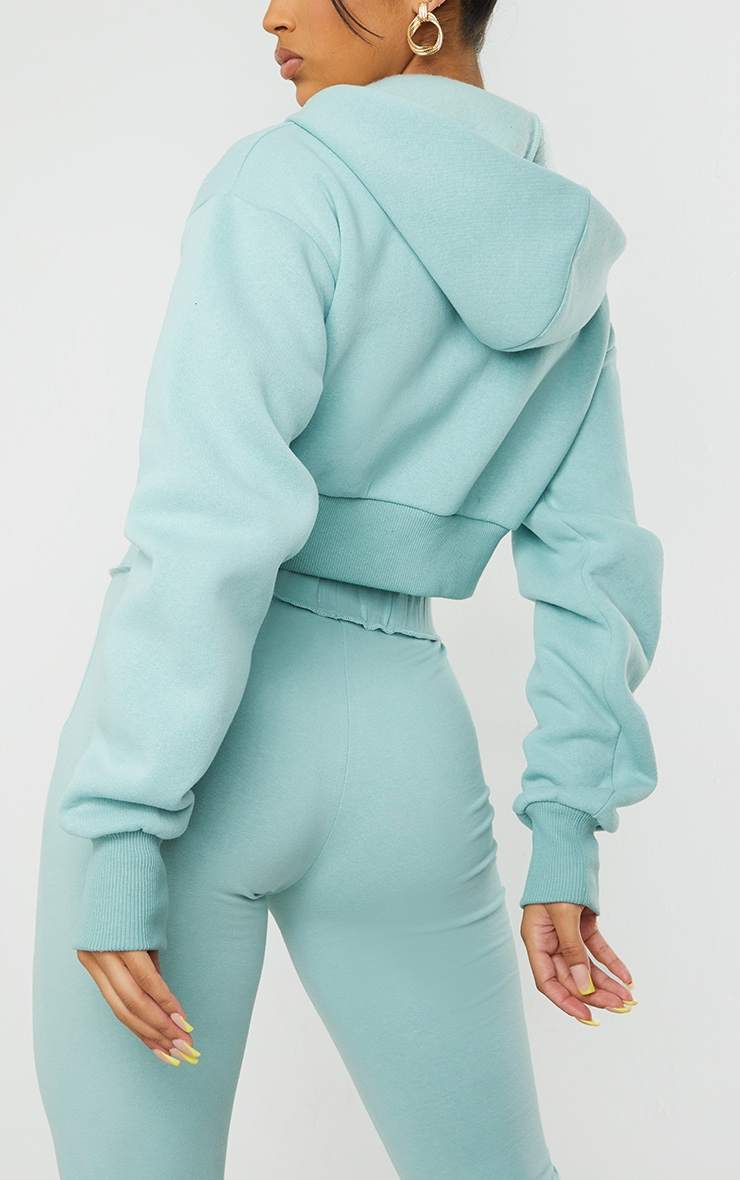 Light Blue Double Zip Through Cropped Hooded Jacket 4