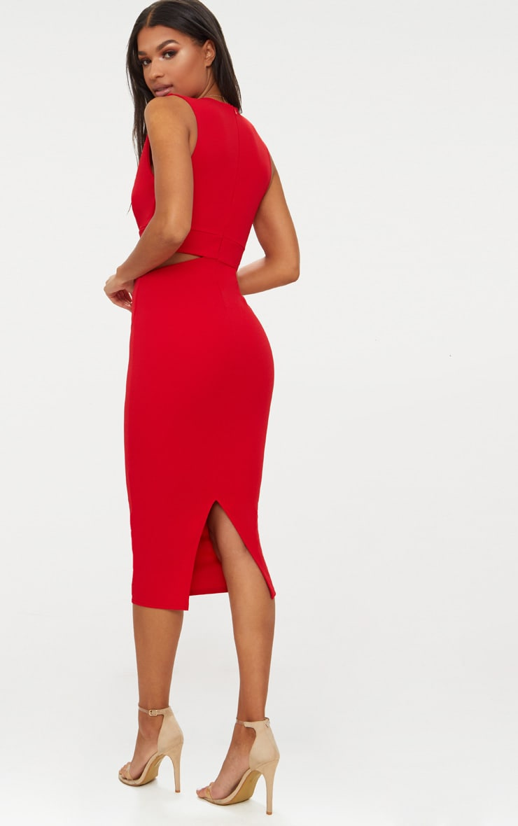 Red Plunge Cut Out Side Midi Dress 2