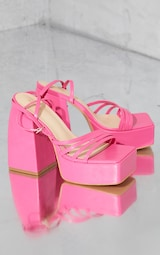 Pink Pu Square Toe Platform Strappy Heeled Sandals 4