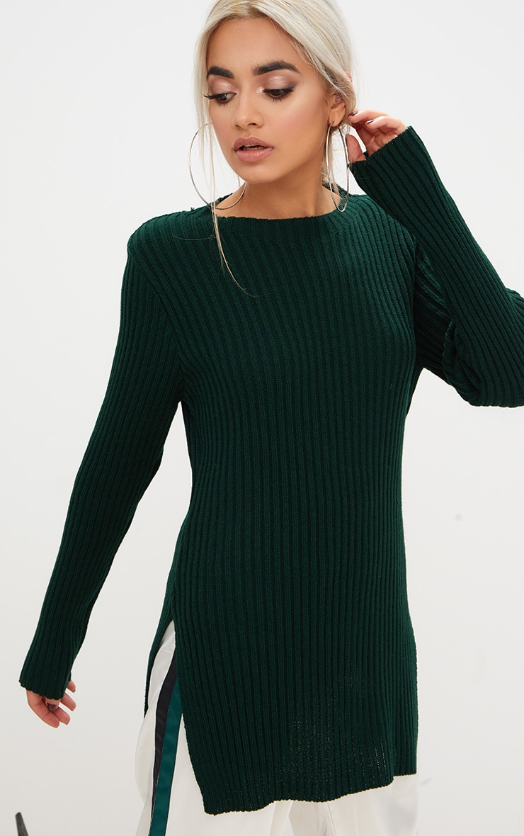 Forest Green Round Neck Side Split Knitted Jumper 1