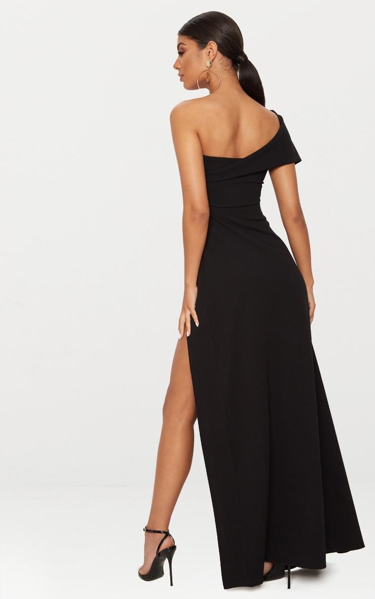 Black One Shoulder Draped Detail Extreme Split Maxi Dress 2