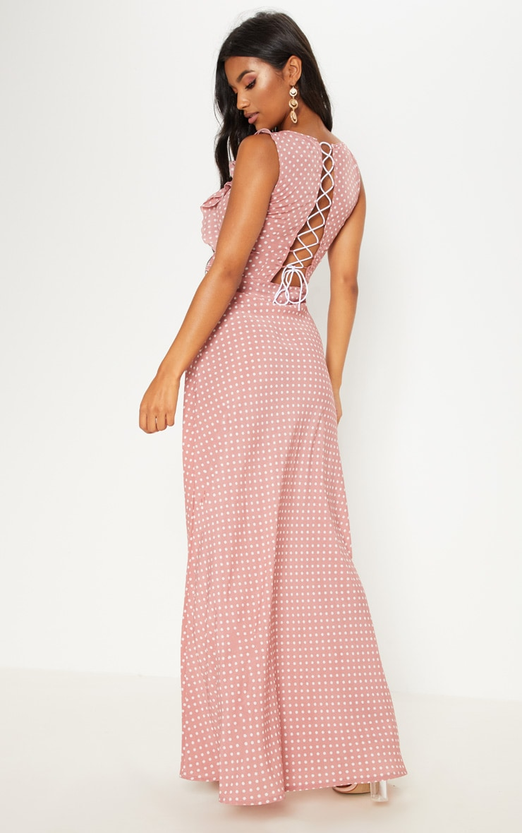 Mauve Polka Dot Lace Up Back Maxi Dress