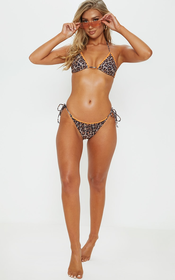 Leopard Blanket Stitch Triangle Bikini Top 3