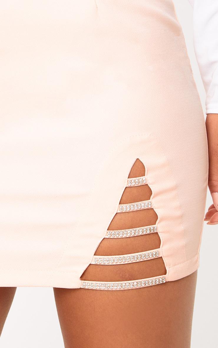 Nude Diamond Split Mini Skirt 5