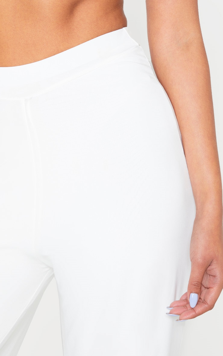 Cream Slinky Detail Wide Leg Trouser 5
