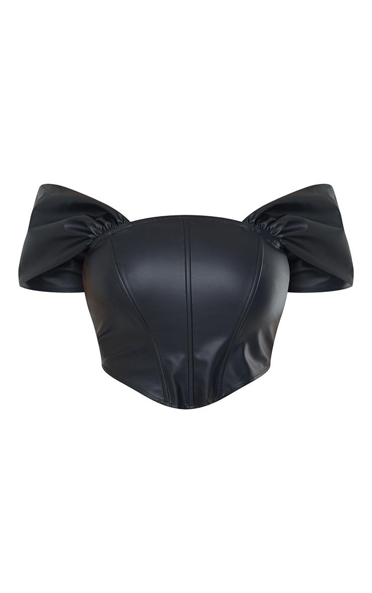 Black Pu Draped Bardot Curved Hem Corset 5