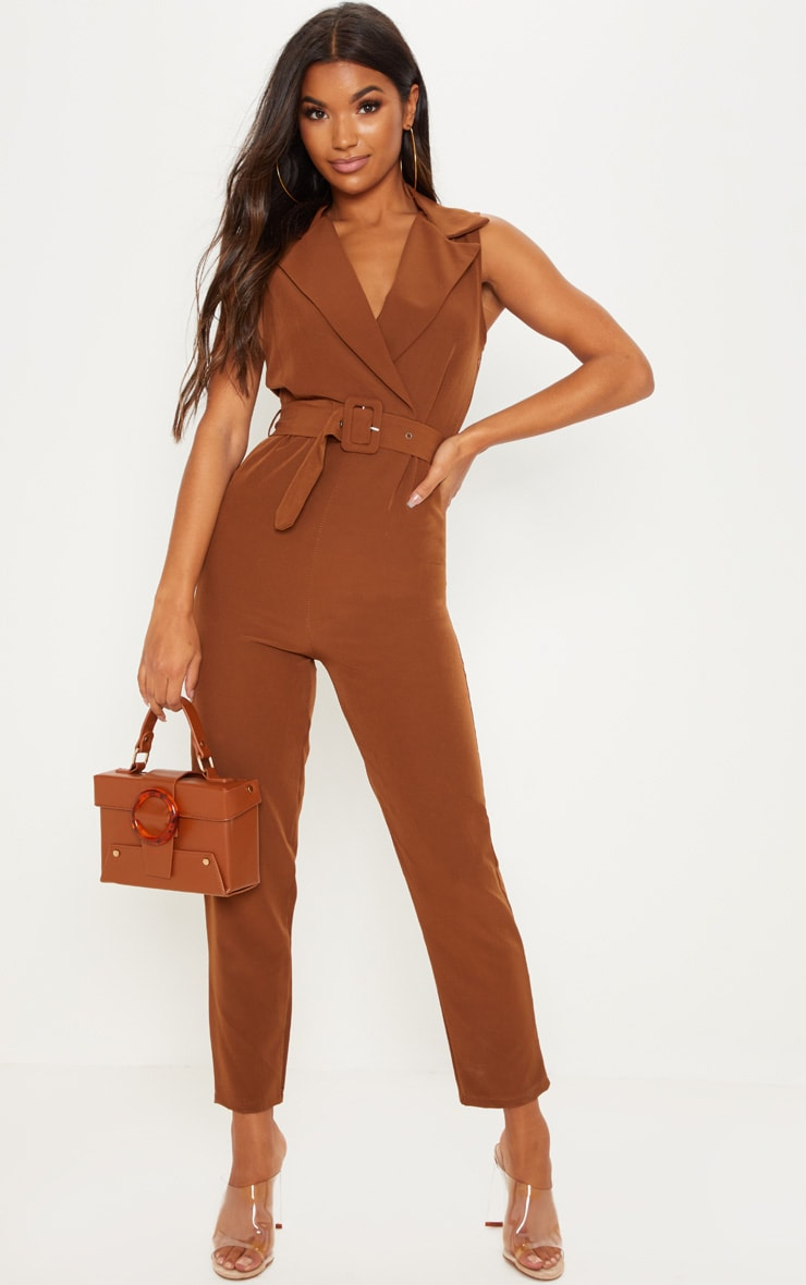 Brown Woven Collar Buckle Front Jumpsuit 1