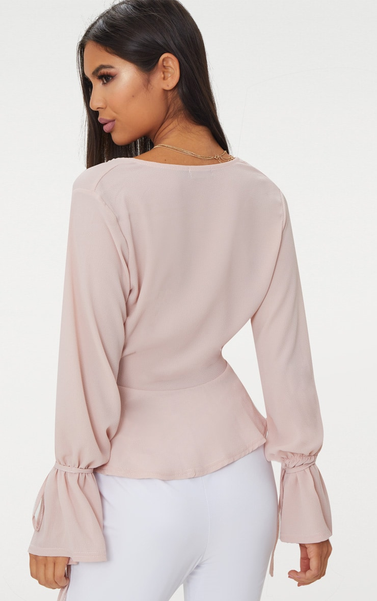 Blush Chiffon Deep Plunge Blouse  2