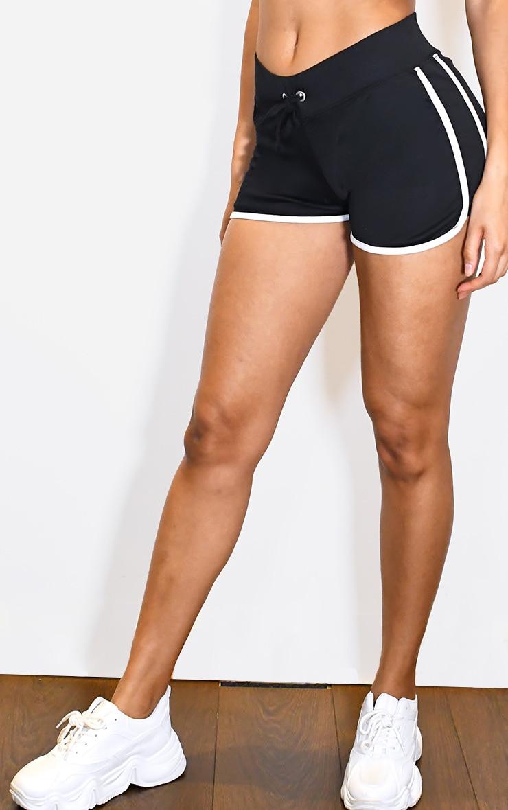Black Binding Contrast Runner Shorts 2