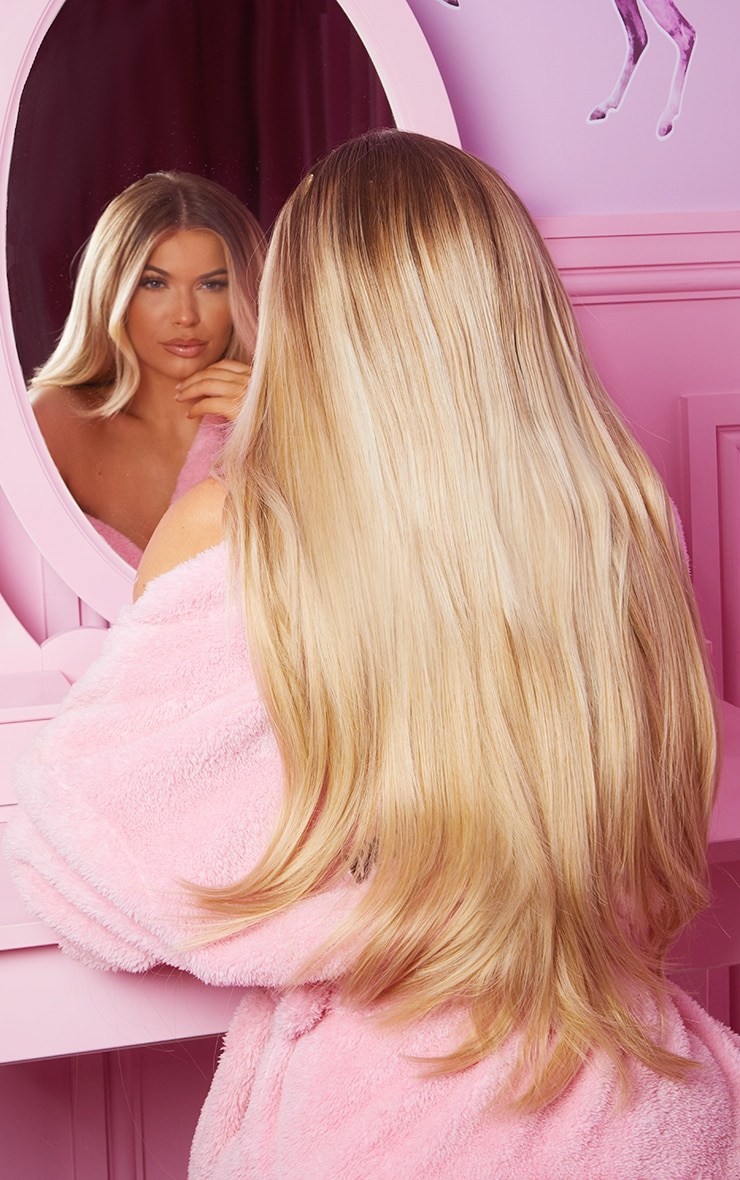 LullaBellz Super Thick 22'5 Piece Straight Clip In Hair Extensions Golden Blonde 1