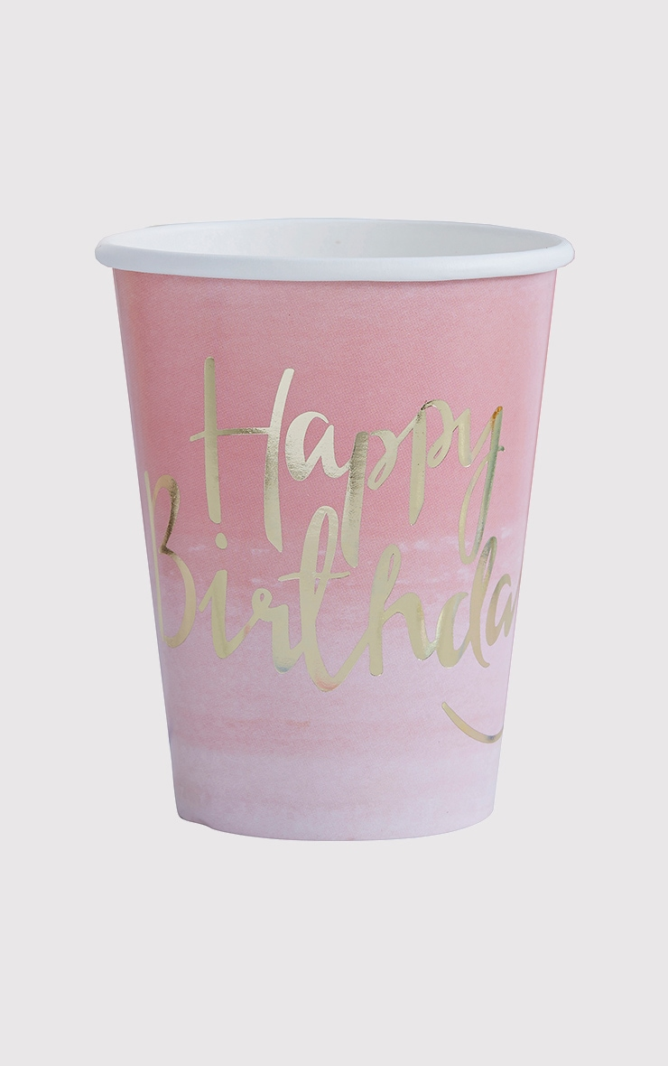 8 Pack Pink Ombre Happy Birthday Paper Cup 2