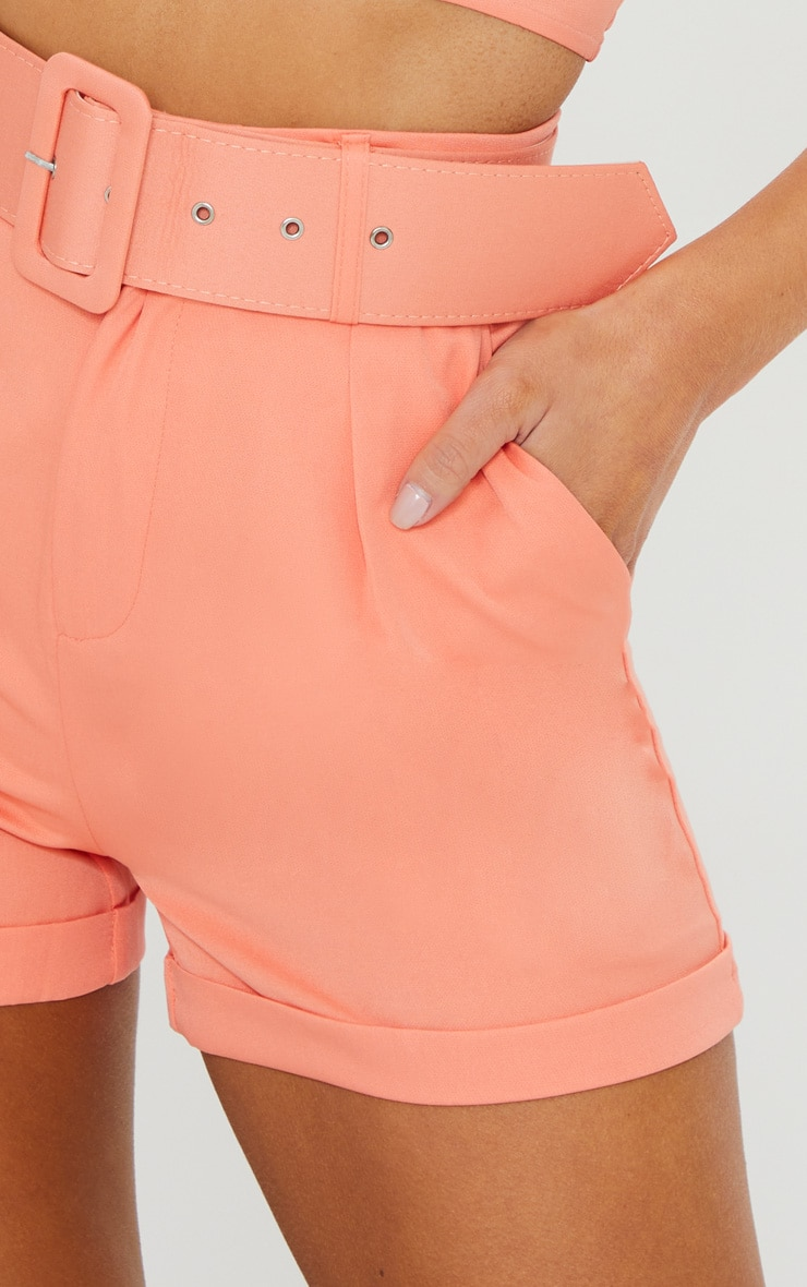 Coral Woven Belted Turn Up Hem Shorts 4