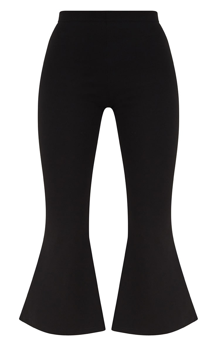 Black Cropped Flare Trousers 3