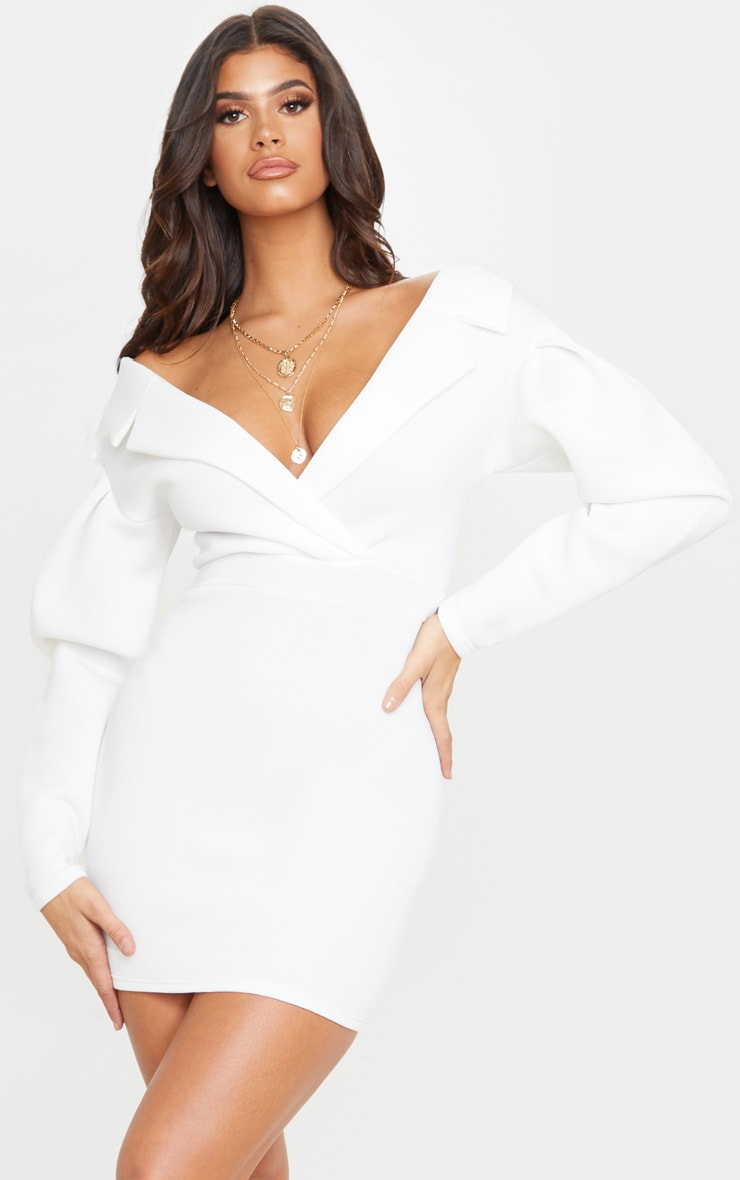 White Puff Sleeve Lapel Detail Scuba Bodycon Dress