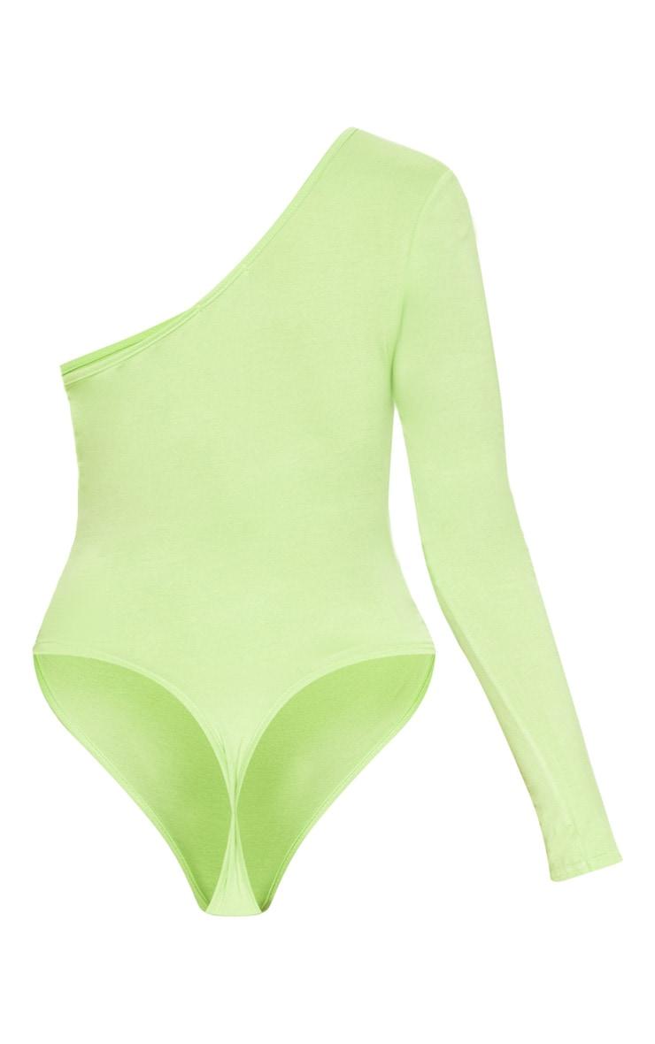Lime One Shoulder Jersey Long Sleeve Bodysuit 4