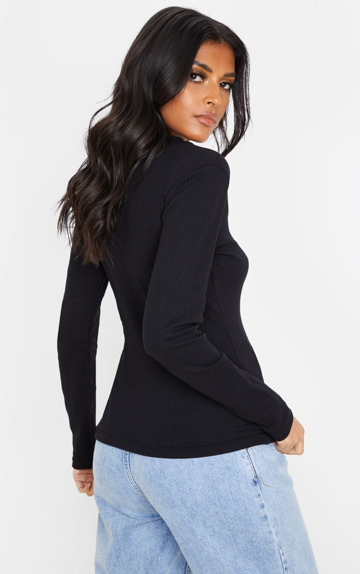 Black Structured Rib V Neck Long Sleeve Top 2