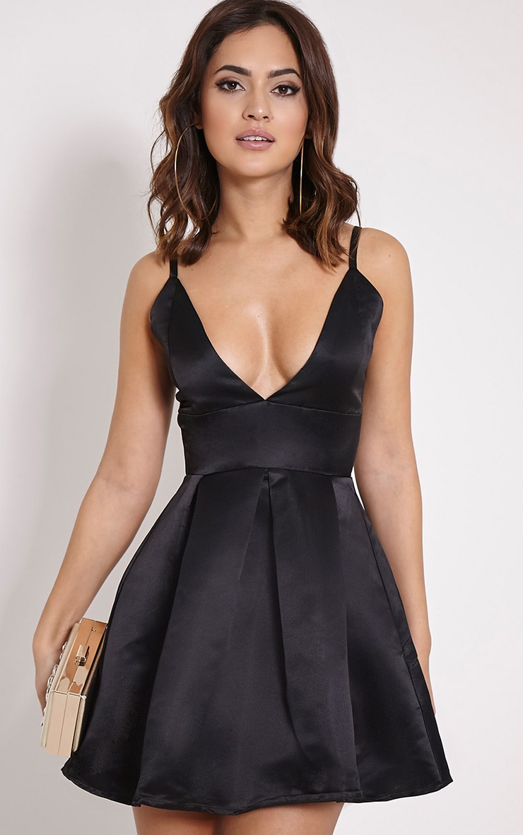 Annora Black Satin Strappy Skater Dress 1
