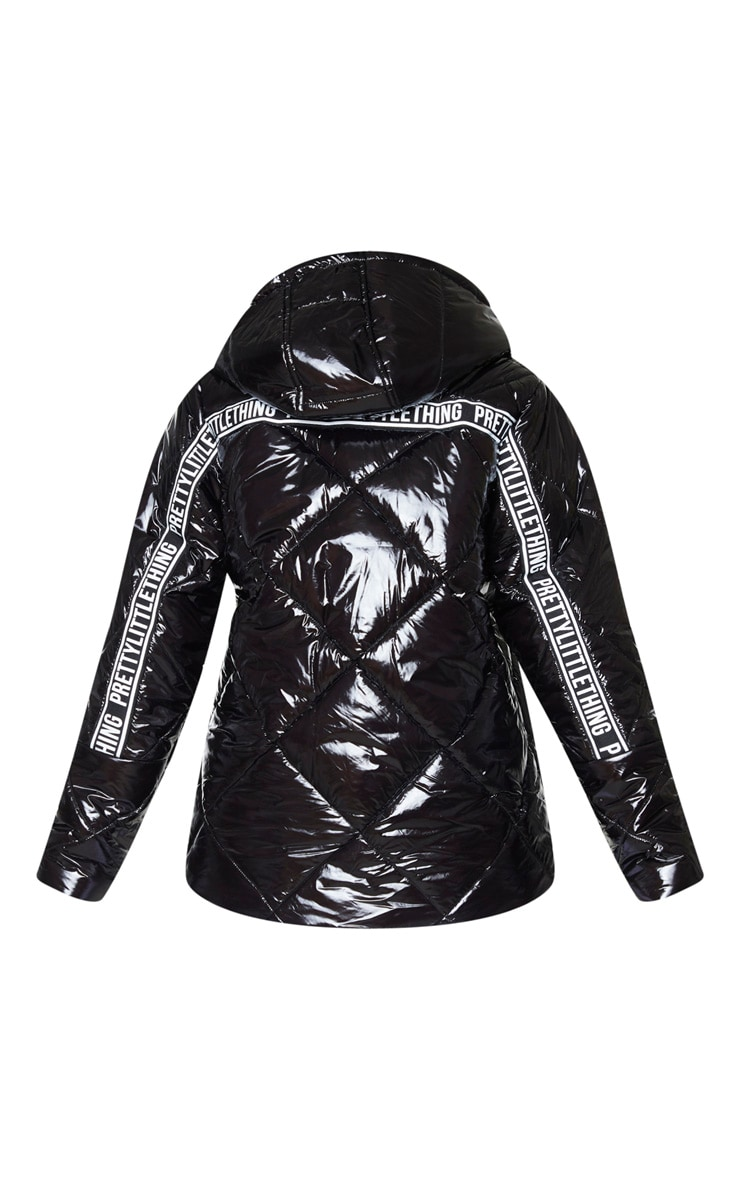 PRETTYLITTLETHING Black High Shine Diamond Quilted Oversized Puffer 6