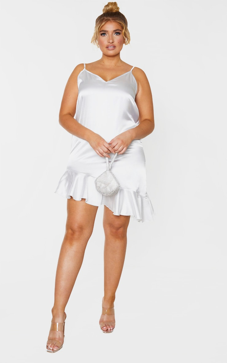 Plus Silver Satin Frill Detail Cami Dress 4