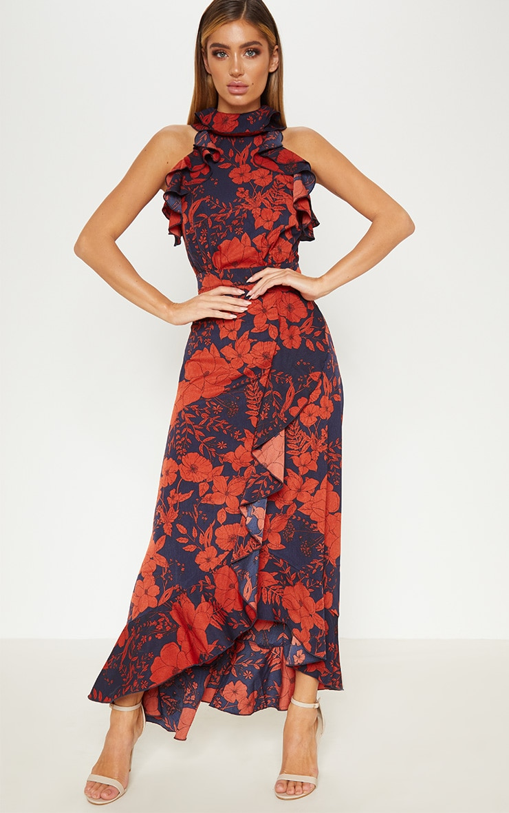 Navy Floral Print  Frill Detail Wrap Maxi Dress 4